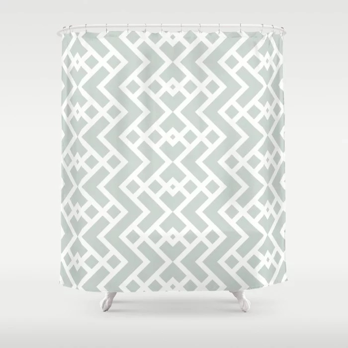Mint Green and White Tessellation Pattern 25 Behr 2022 Color of the Year Breezeway MQ3-21 Shower Curtain. 2022 color trend