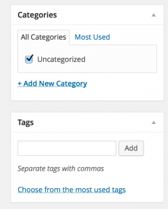 Screenshot showing the Tags and Categories areas