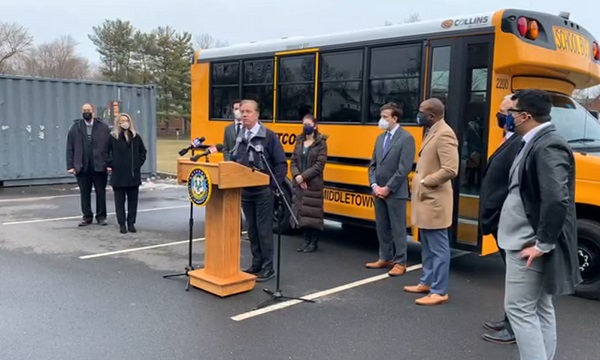 Gov. Ned Lamont at a press conference at Macdonough Elementary School in Middletown (Courtesy of DEEP Facebook broadcast)