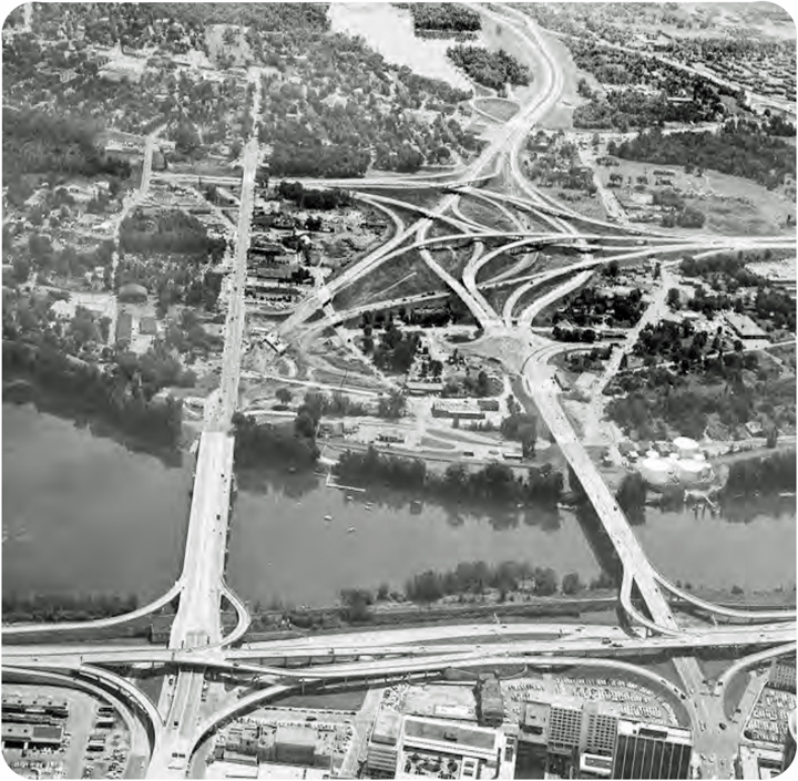 "From the Hartford400 plan, an illustration of the ""mixmaster"" highway interchange on the East Hartford side of the Connecticut River."