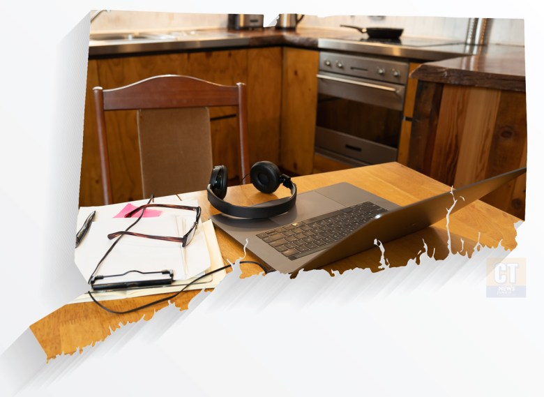 Image of telecommuting or working from home with Connecticut outline (CTNewsJunkie composite with Visual society and Sam Wordley via Shutterstock)