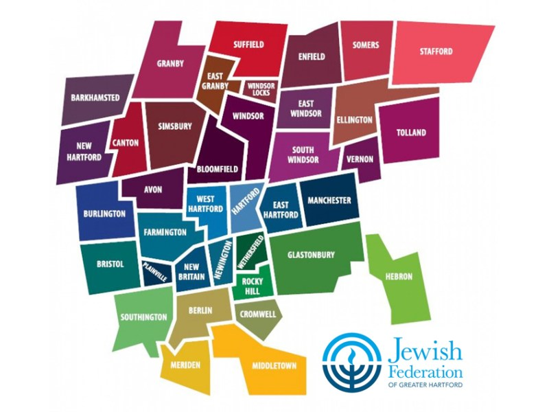 Map of towns served by the Jewish Federation of Greater Hartford