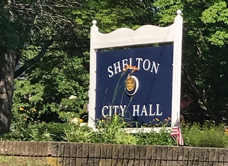 Shelton, Connecticut's city hall sign. (Julie Martin Banks / CTNewsJunkie)