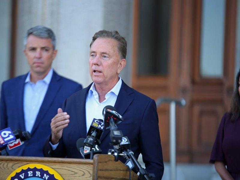 Gov. Ned Lamont speaks to reporters
