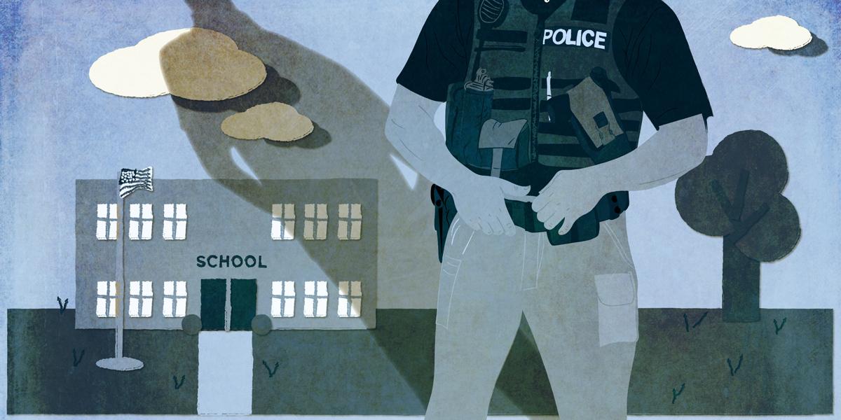 Criminalizing kids - school with resource officer illustration