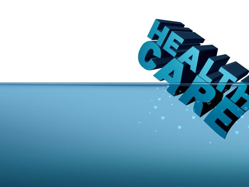 Health care or healthcare insurance crisis concept