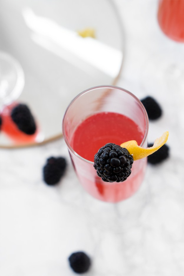 French 75 Blackberry Lavender Mardi Gras Cocktail