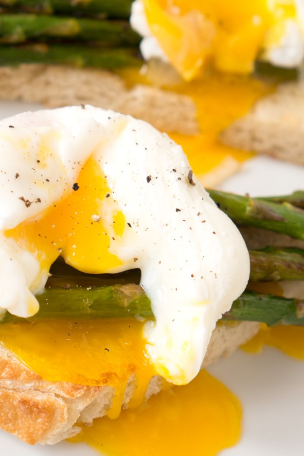 Poached Egg Asparagus Toast with Shaved Parmesan