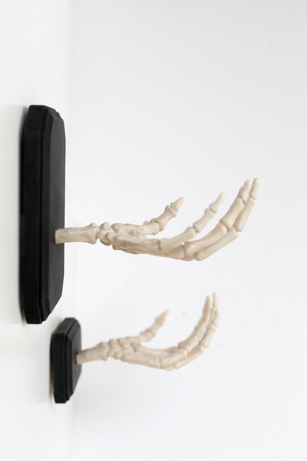 DIY Halloween Skeleton Hands Shelf Hook Wall Decor