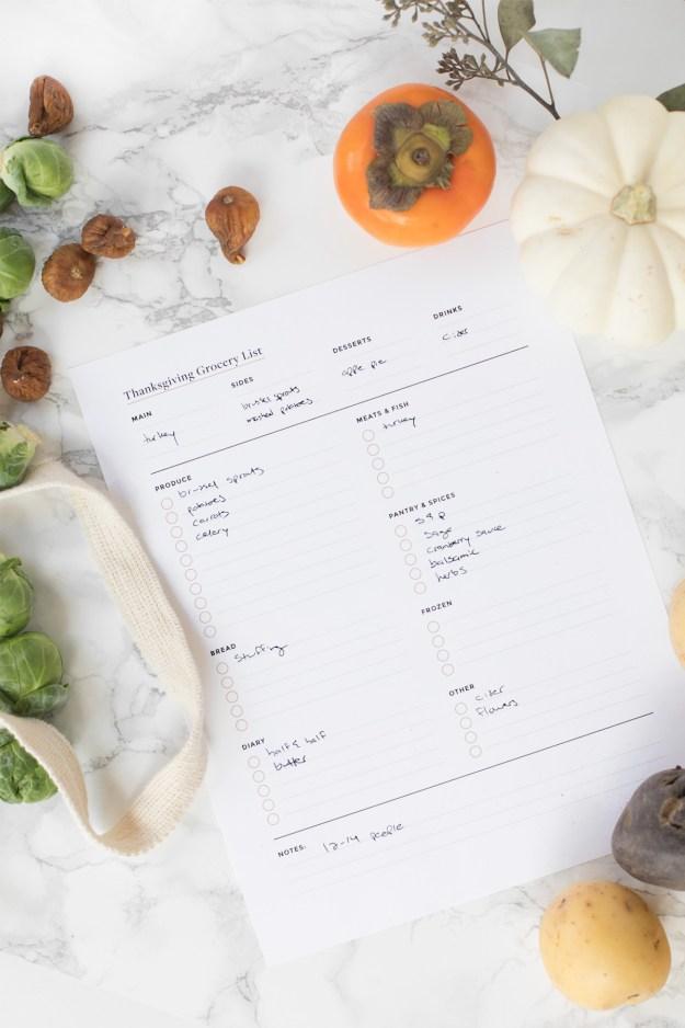 Thanksgiving Menu Planning Grocery List Printable
