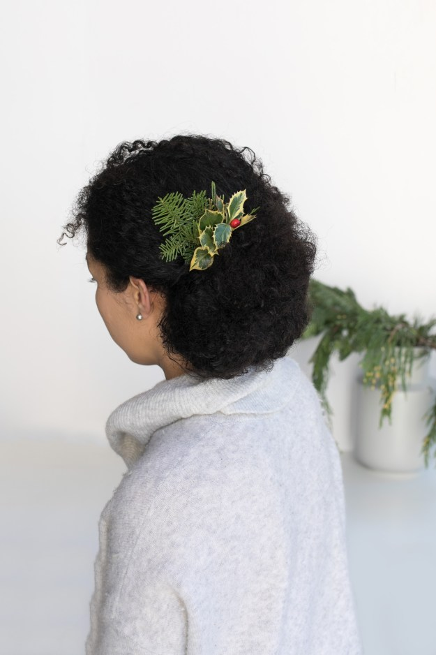 DIY Evergreen Holiday Hair Combs