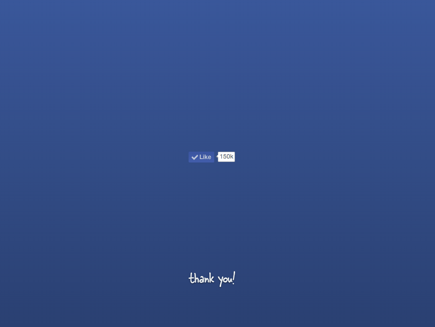 Facebook Like button on Blue Background