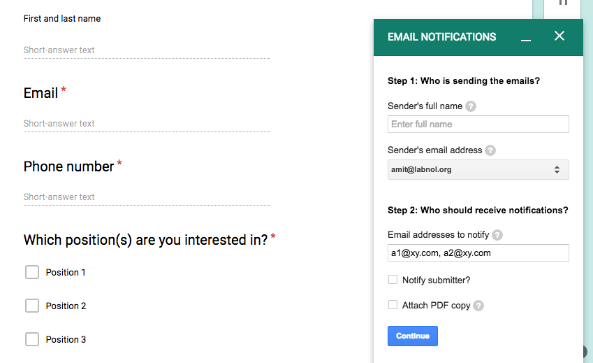 Google Forms Email