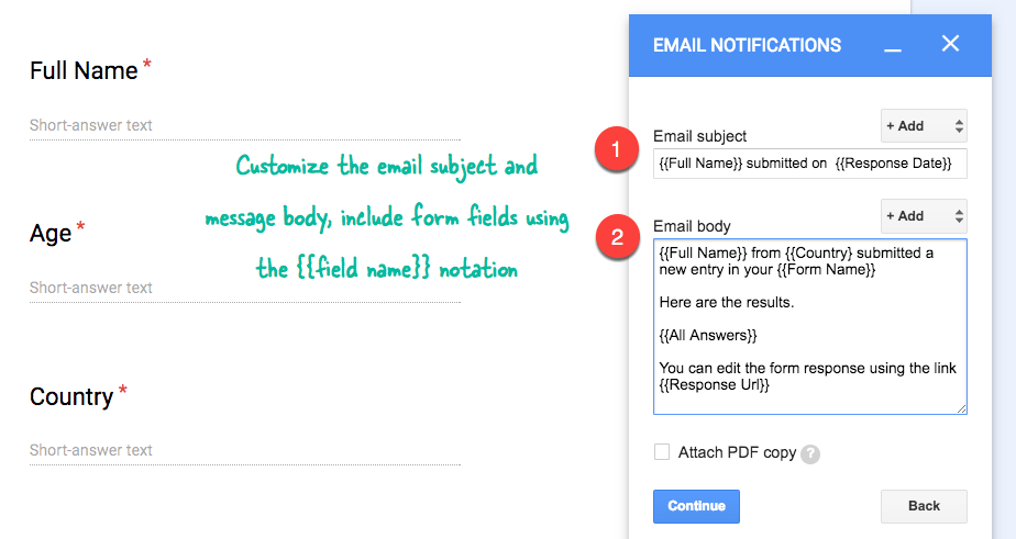 how to include and disclude responses in google form