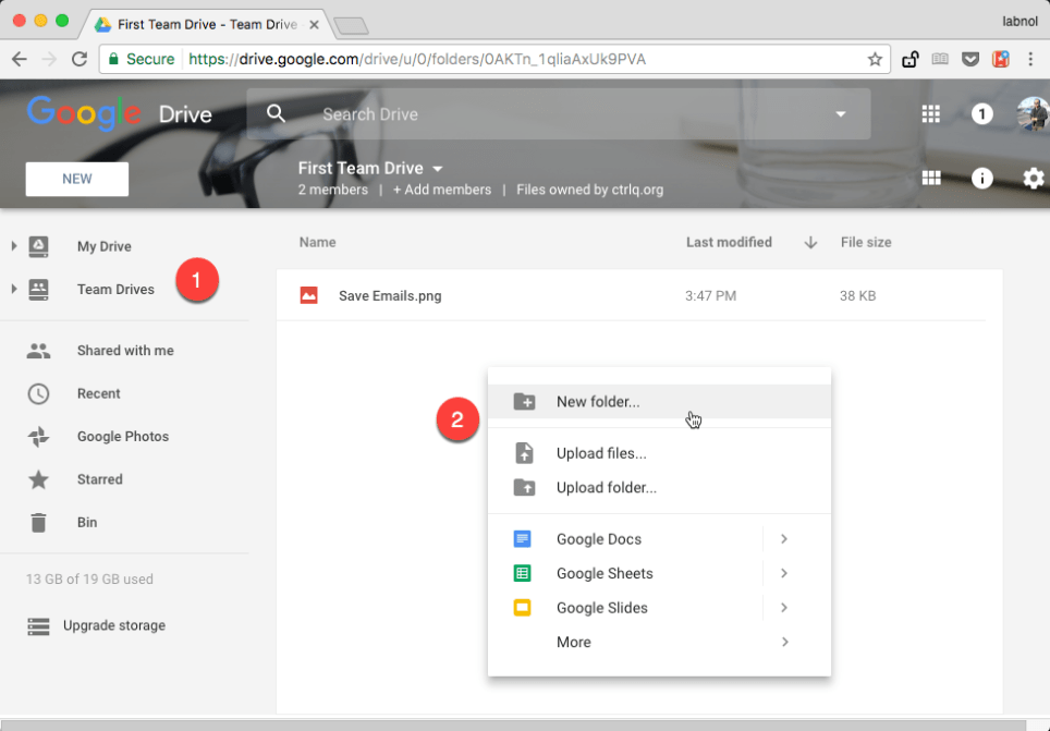 How to Download Gmail Messages in Google Team Drive Folders
