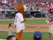 She ran around 3 of the bases with Tiger