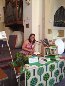 Jo prepares the Climate Justice stand
