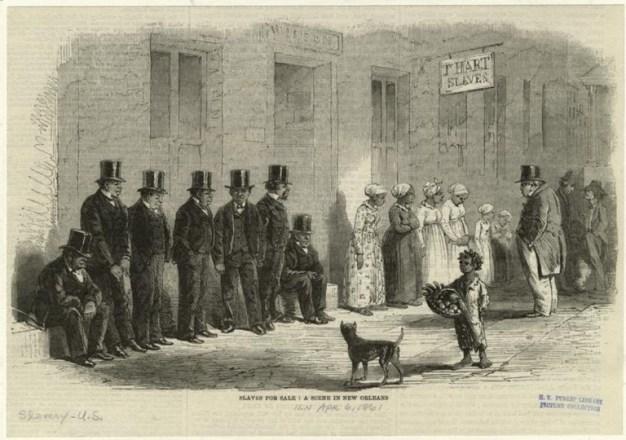 <p>Esclavos en venta: una escena en Nueva Orleans, 1861. Autor desconocido.</p>