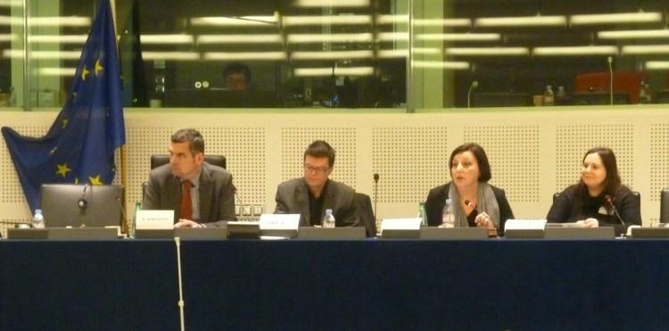 Sally Galiana e Isabel Lema no Parlamento Europeo