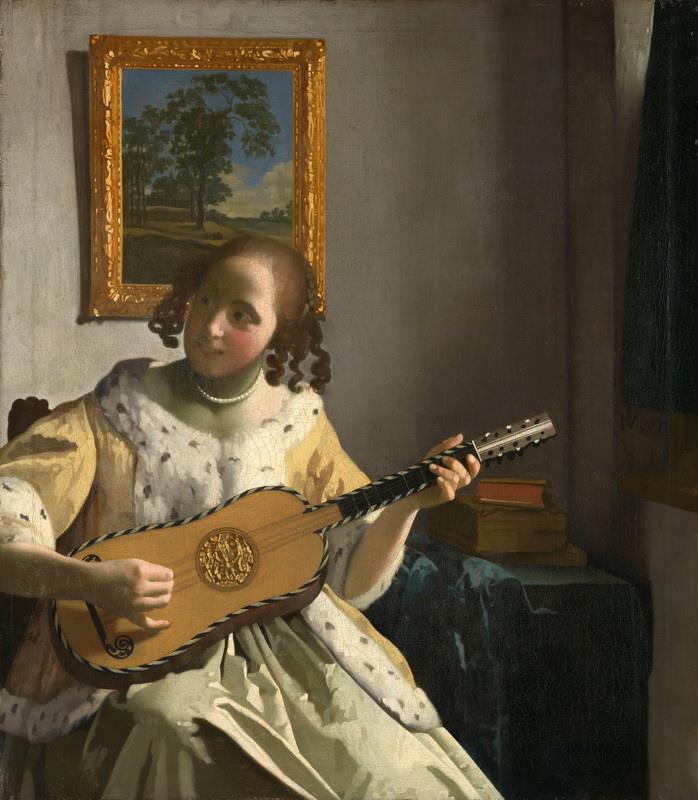 """Resultado de imagen de """"Mujer tocando la guitarra"""" vermeer"""