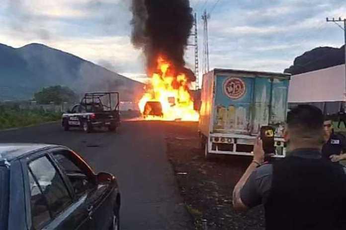incendio camioneta de valores