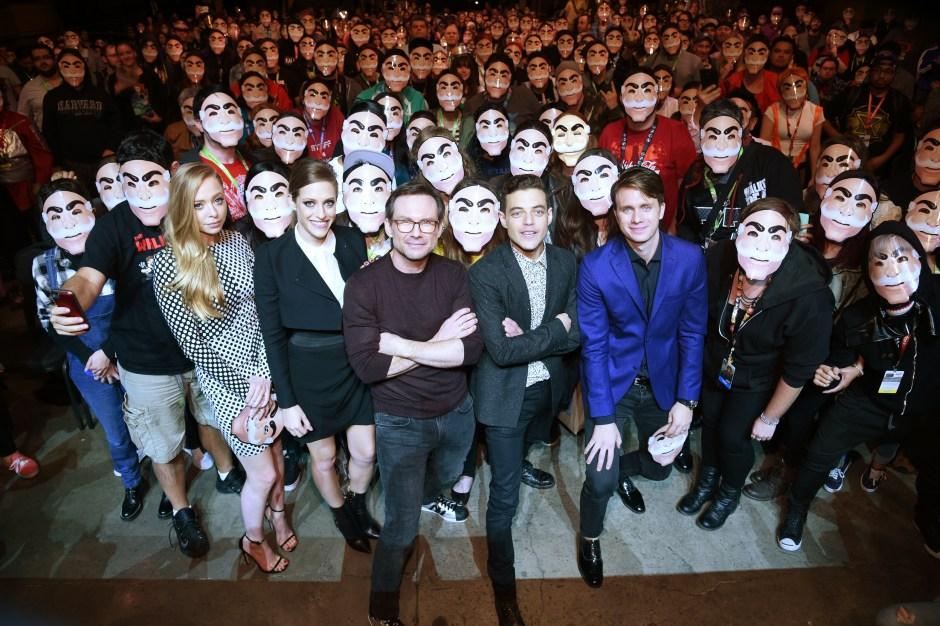 "NEW YORK COMIC CON -- ""Mr. Robot Panel"" -- Pictured: (l-r) Andy Greenwald, Carly Chaikin, Rami Malek, Sam Esmail, Christian Slater, Portia Doubleday, Martin Wallstrom -- (Photo by: Mike Coppola/USA)"