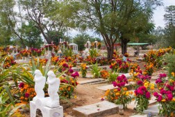 """Production designer Harley Jessup traveled to cemeteries in Oaxaca (and beyond), to soak up the Día de Muertos décor, including orange cempasúchil (marigold) and fuchsia celosia (cockscomb) flowers, which influenced the color palette of the film. Over the course of three years, the filmmakers visited museums, markets, plazas, workshops, churches, haciendas and cemeteries throughout Mexico. They were welcomed into the homes of several families to learn about their livelihoods, music and traditions. Extensive research and collaboration were key to bringing this story of music and family to the screen. Disney•Pixar's """"Coco"""" opens in U.S. theaters on Nov. 22, 2017."""