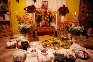 """""""Coco"""" filmmakers traveled to Santa Fe de la Laguna in Michoacán (and beyond), to observe the traditions of Día de Muertos décor, including the creation of ofrendas, elaborate altars assembled to honor and welcome home loved ones who've passed. Over the course of three years, the filmmakers visited museums, markets, plazas, workshops, churches, haciendas and cemeteries throughout Mexico. They were welcomed into the homes of several families to learn about their livelihoods, music and traditions. Extensive research and collaboration were key to bringing this story of music and family to the screen. Disney•Pixar's """"Coco"""" opens in U.S. theaters on Nov. 22, 2017."""