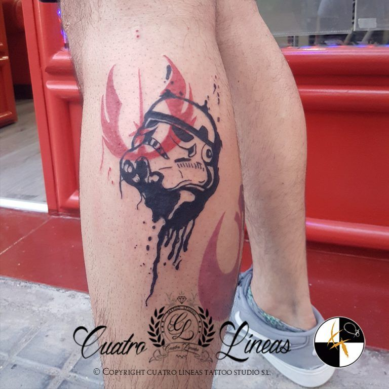 Tatuaje estilo trash polka star wars madrid