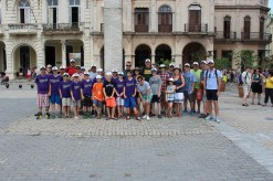 The team at a square in Old Havana.