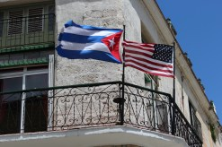 The flags of our two nations side-by-side in Old Havana.
