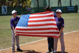 Presenting the U.S. flag during the opening ceremonies.