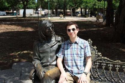The writer of this blog alongside a statue of John Lennon, in Havana's Lennon Park.