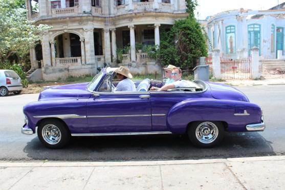 A classic car outside of Lennon Park.