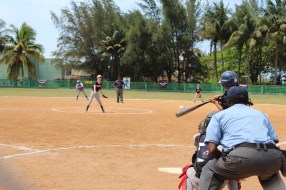 A Cuban player from the Cerro team makes contact during the game.