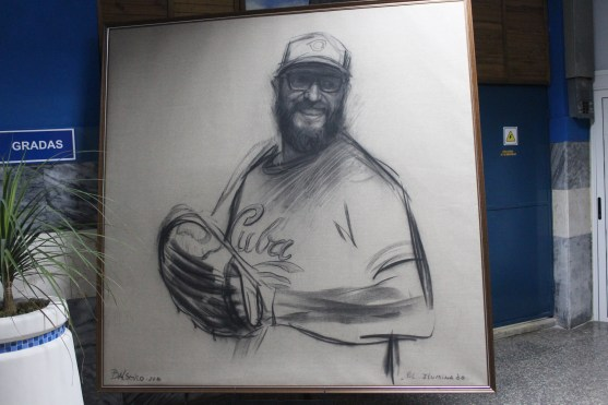 A drawing of Cuban leader Fidel Castro at the Estadio Latinoamericano.