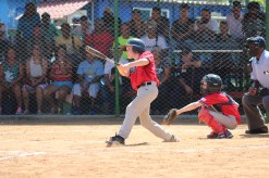 Ollie Pudvar of team Vermont watches his hit after making contact. He went five for his last six at-bats while in Cuba!