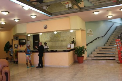 The front desk in the lobby of our hotel, the Bella Habana.