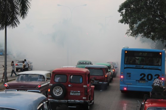 Chemicals in the air released to kill mosquitoes and prevent Zika virus. This is a regular practice in Cuba.