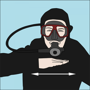 no me queda aire - señales de buceo - Cuba Blue Diving