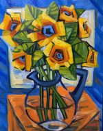 """Sunflowers In My Office"" 16"" x 20"" oil on canvas"