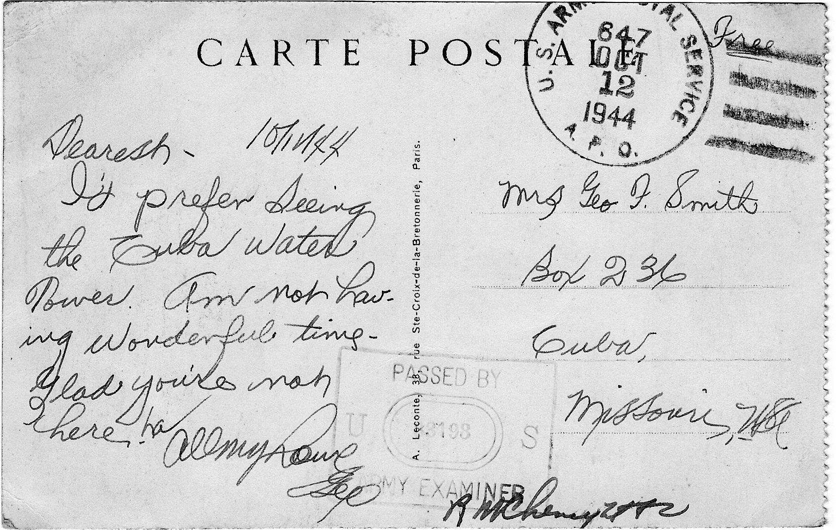WWII Postcard From Paris France Cuba MO Route 66