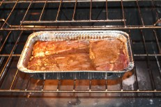 Boneless country-style pork ribs cooking