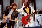"""Bruce Springstein and Chuck Berry perform """"Johnny B. Good"""" to open The Concert for the Rock & Roll Hall of Fame, September 2 at Cleveland Stadium. Proceeds from the concert benefit the newly opened $92 million Rock & Roll Hall of Fame in Cleveland"""
