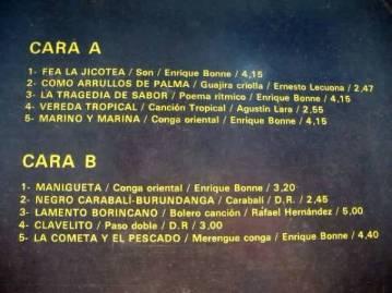 LP con musica de Enrique Bonne back