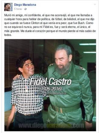 Perfil de Diego Armando Maradona en la red social Facebook