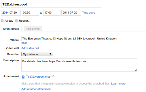 Tedxliverpool mindmap in google calendar