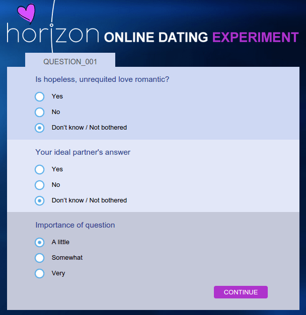 horizon goes okcupid on us