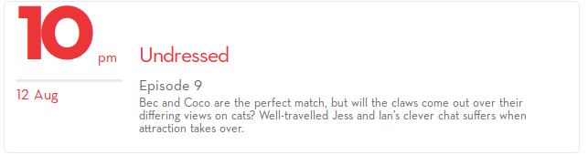 10pm 12th Aug : Well-travelled Jess and Ian's clever chat suffers when attraction takes over.
