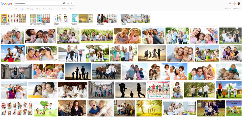 logged in google search for happy families